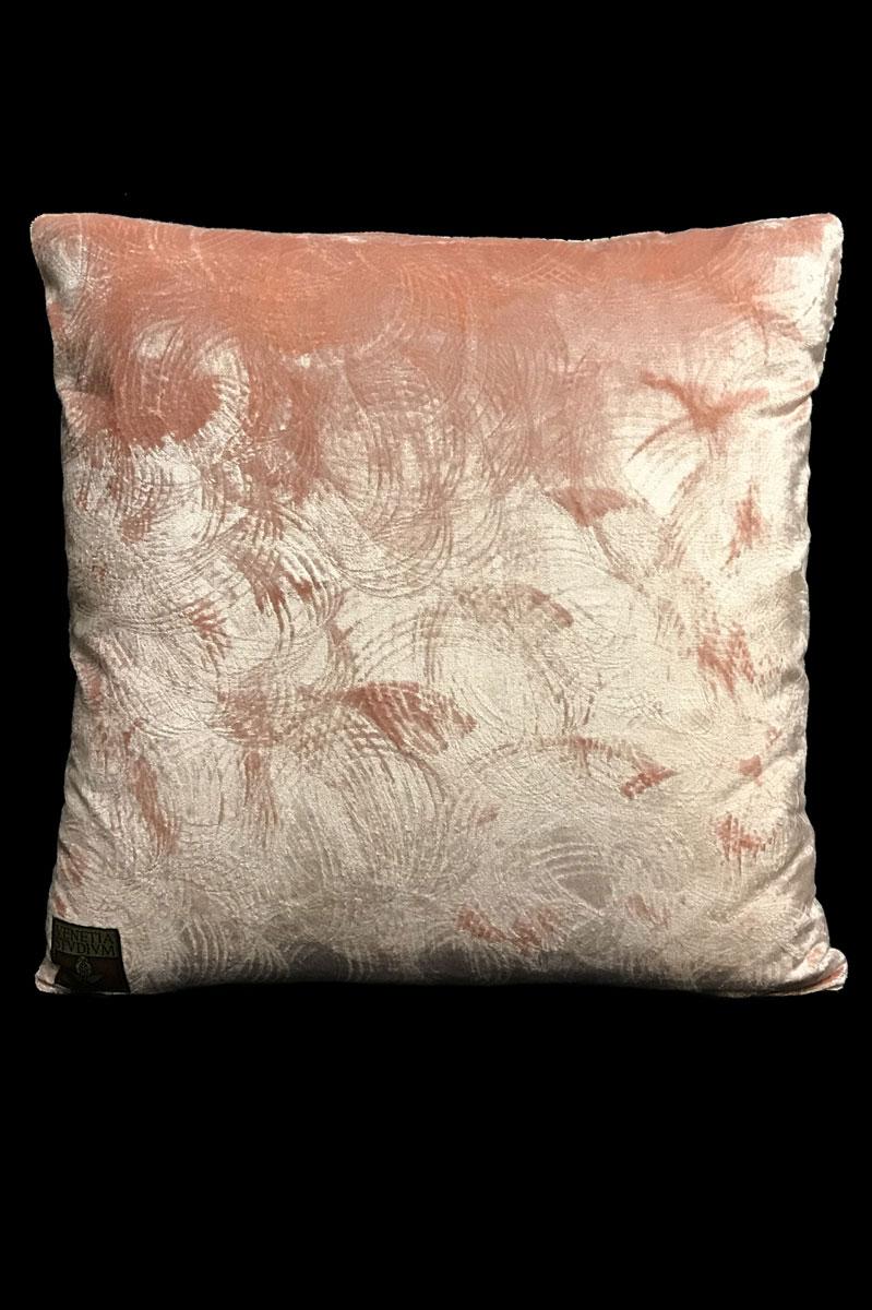 Cojín cuadrado Venetia Studium de terciopelo rosa estampado