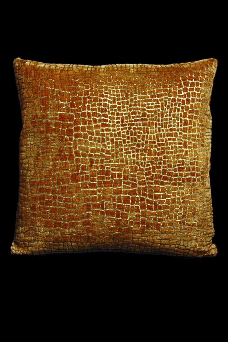 Cojín Venetia Studium Mosaico cuadrado de terciopelo caramelo estampado