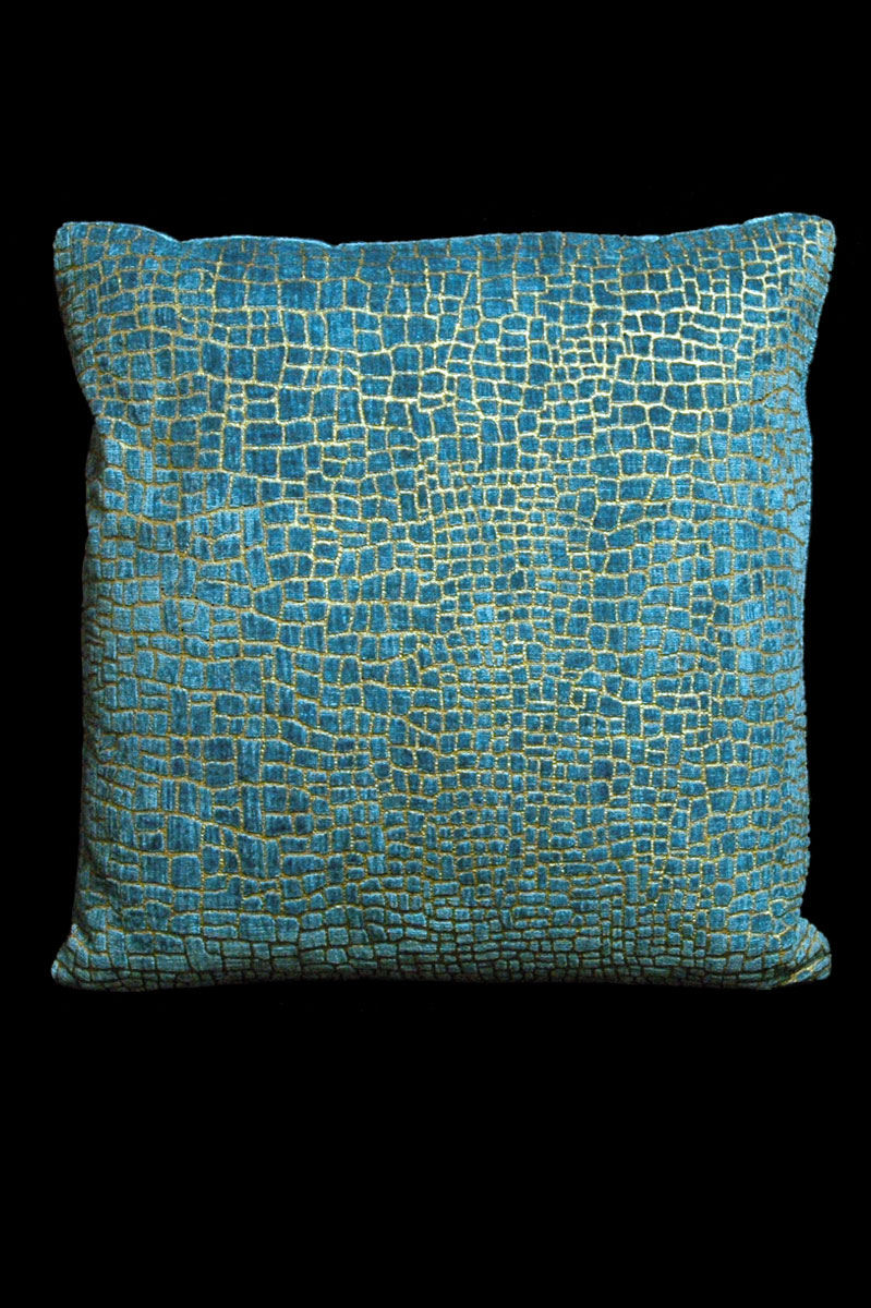 Cojín Venetia Studium cuadrado de terciopelo aguamarina estampado con diseño Mosaico