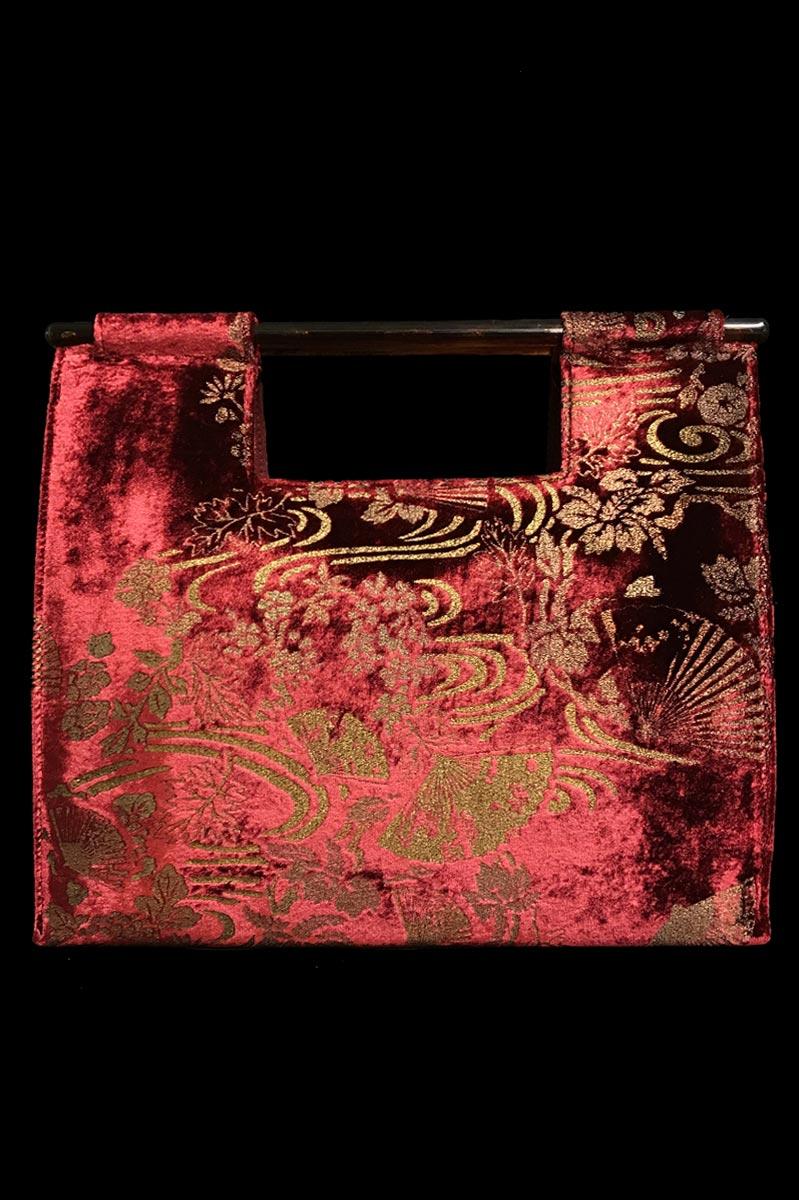 Bolso Fortuny Aiko de terciopelo rojo rubin estampado