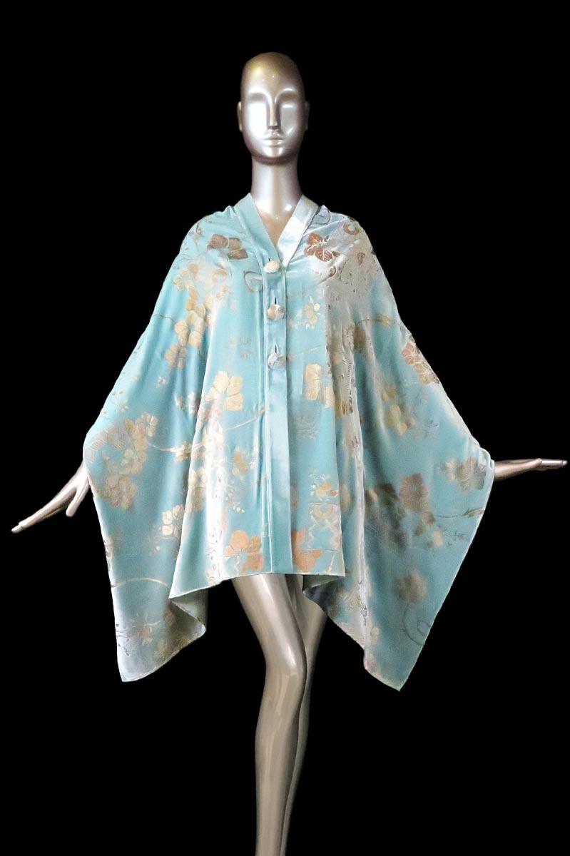 Estola Fortuny de terciopelo estampado turquesa claro con algodones