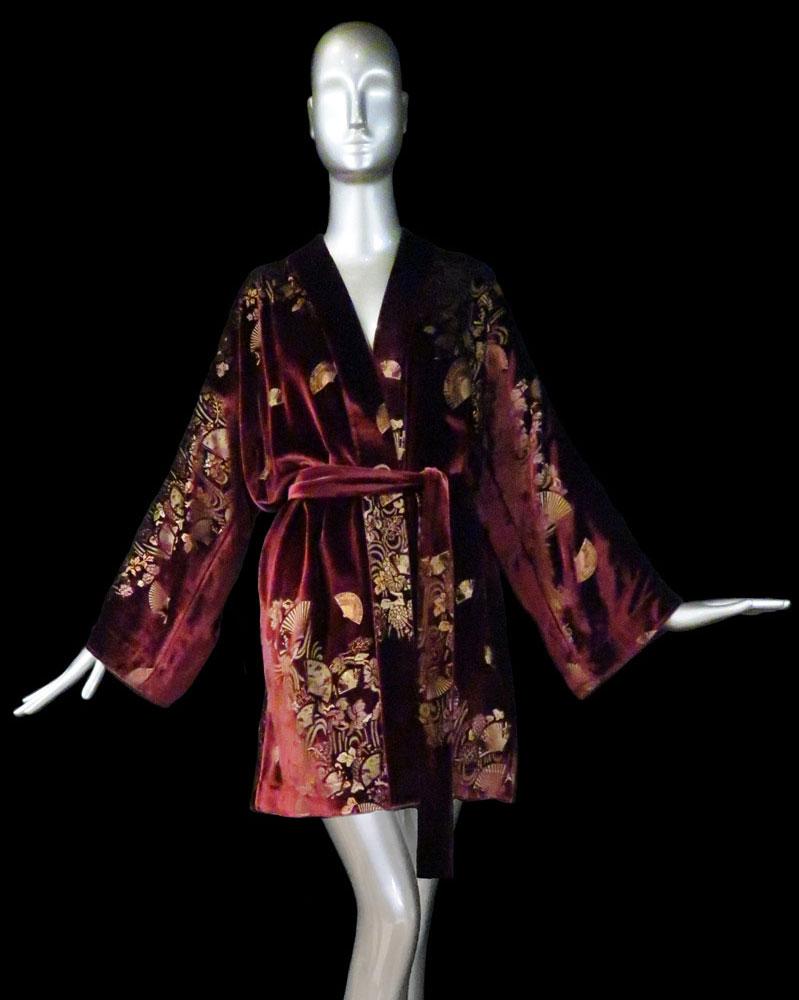 Kimono Fortuny Isabel de terciopelo estampado