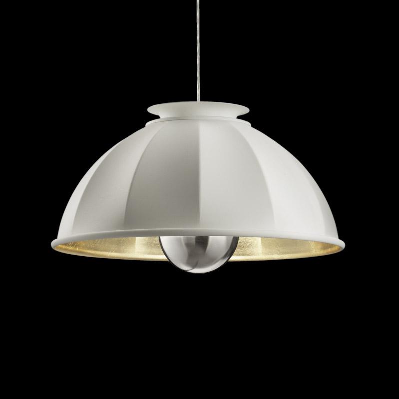 Lámpara suspendida Fortuny Cupola 63 blanca y dorada