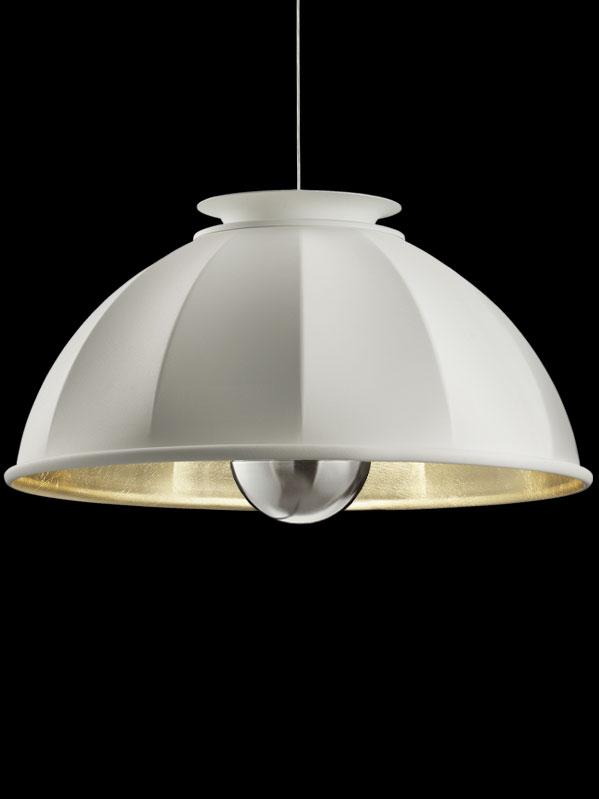Lámpara suspendida Fortuny Cupola 76 blanca y dorada