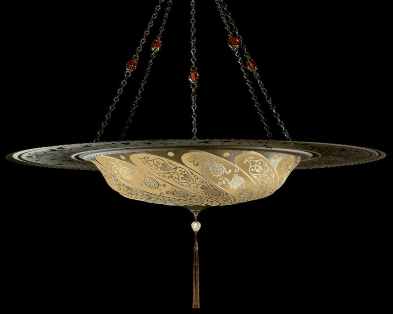 Fortuny Scudo Saraceno Classic salmon silk lamp with metal ring